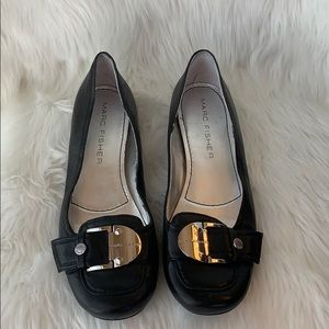 Marc Fisher Black Leather Flats Sz 10